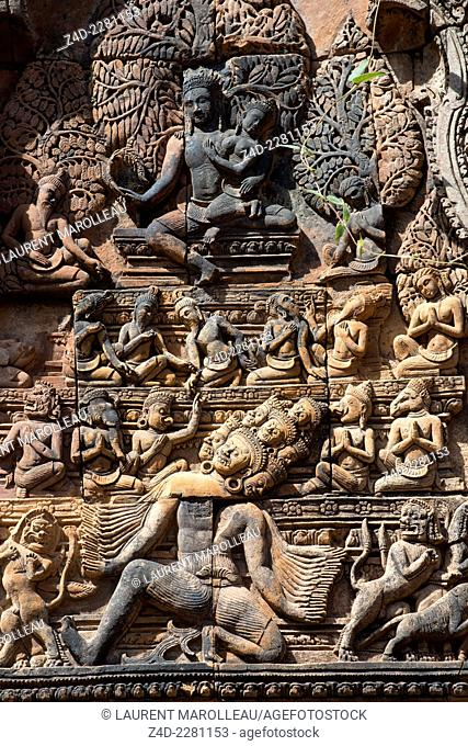 The east-facing pediment on the southern library at Banteay Srei (citadel of the women or citadel of beauty) temple, dedicated to the Hindu god Shiva