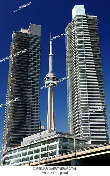 New unfinished downtown Condos in Toronto with the CN tower
