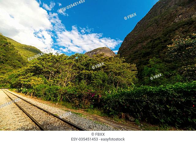 The railroad track crossing jungle and connecting Machu Picchu village to hydroelectric station, mostly used for tourism and cargo purpose