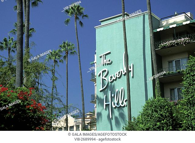 BEVERLY HILLS SIGN HILTON HOTEL BEVERLY HILLS LOS ANGELES CALIFORNIA USA