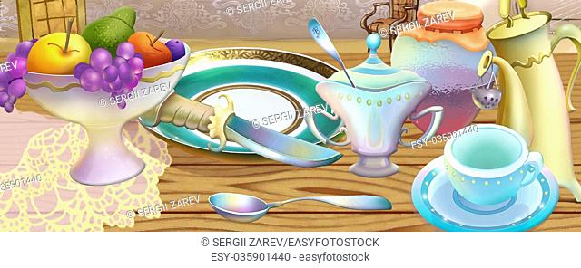 Fairy Tale Still Life of Tea Set and Vase of Fruits. Digital Painting Background, Illustration in cartoon style character
