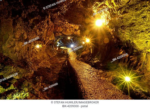 Lava caves Grutas de Sao Vicente, Sao Vicente, Madeira, Portugal