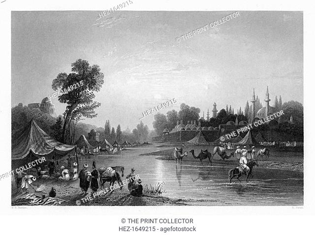 The Barrada River, (the ancient Pharpar), Damascus, Syria, 1841. From Syria, the Holy land and Asia Minor, volume I, by John Carne, published by Fisher