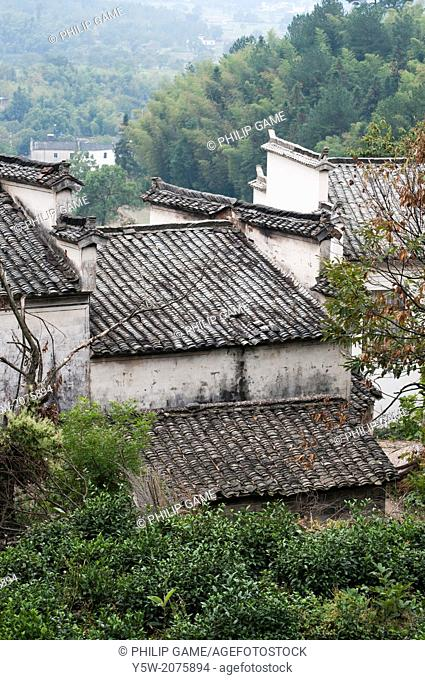 Tiled roofs of Tachuan heritage village in Huizhou region, Anhui