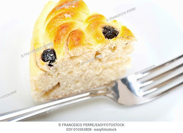 fresh home baked blueberry bread cake dessert over white wood table