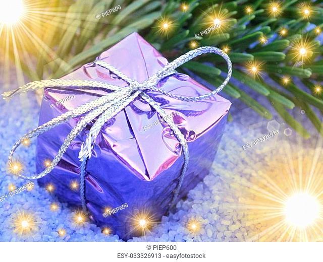 festive decoration with golden lights