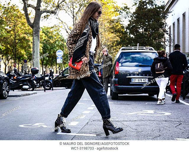 PARIS, France- October 1 2018: Carlotta Oddi on the street during the Paris Fashion Week