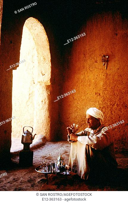 Tea Time inside a historical Casbah. Dadès Valley Ksours, Morocco