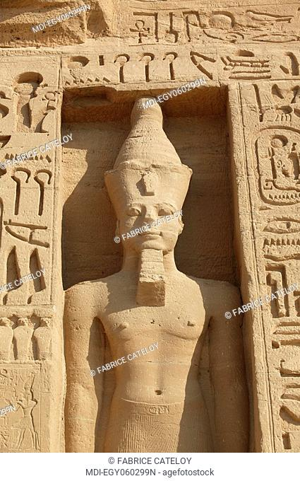 The Temple of Nefertari dedicated to Hathor - Statue of Ramesses II on the frontage of the temple