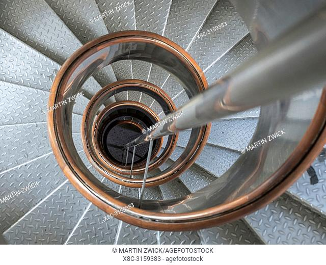 Spiral stairs in the lighthouse in the Nature Reserve Vulcao dos Capelinhos. Faial Island, an island in the Azores (Ilhas dos Acores) in the Atlantic ocean