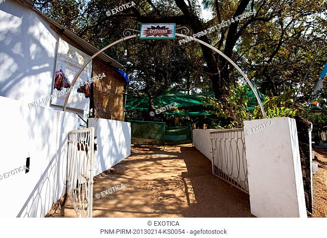 Entrance of a restaurant, Artjuna, Anjuna, North Goa, Goa, India