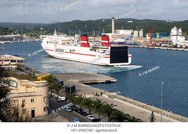 Mao (Mahon) natural harbor. Biosphere Reserve Minorca, Balearic Islands, Spain