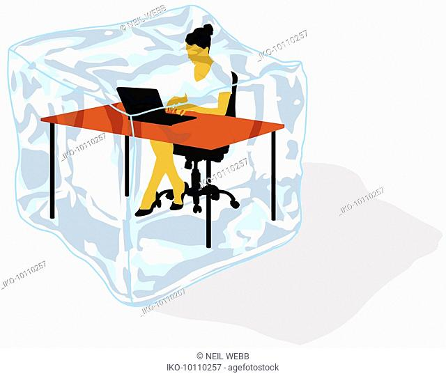 Businesswoman working inside of ice cube