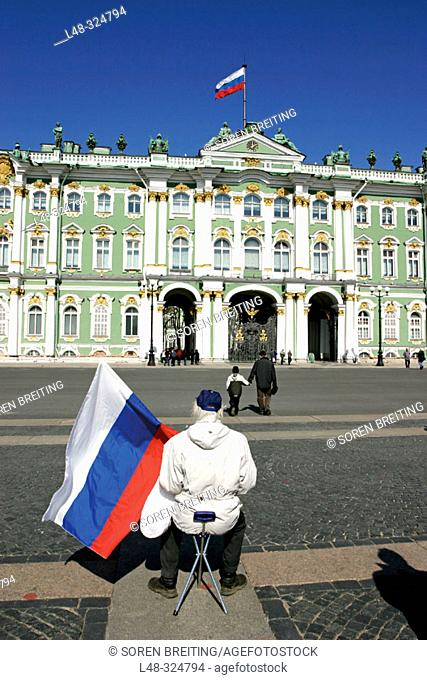 Russian flags in front of The Hermitage Museum, (Hermitage State Museum), St. Petersburg, or Saint-Petersburg, former Leningrad, Russia