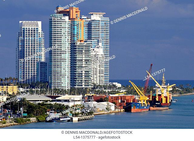 Views of Miami Florida skyline and harbor from departing cruise ship