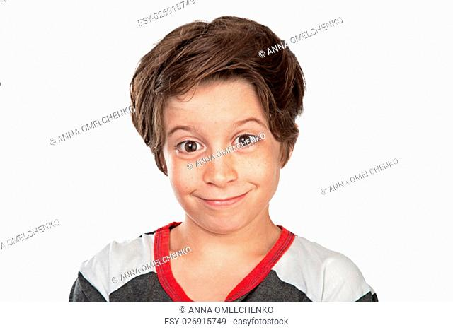 Closeup portrait of a cute happy boy isolated on white background, nice friendly teen posing in the studio
