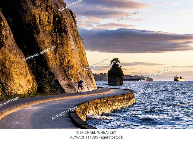 The Stanley Park sea wall and Siwash Rock, Vancouver, British Columbia, Canada