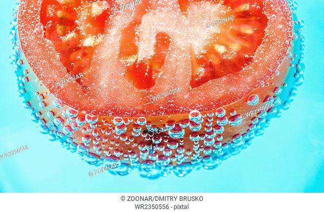 Tomato with bubbles of air