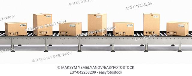 E-commerce, delivery and packaging service concept. Cardboard boxes on conveyor line isolated on white background. 3d illustration
