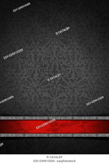 Template of gray velvet and texture with ornate floral seamless and red plaque with silver frame