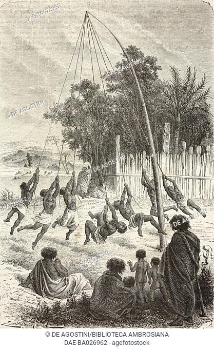 Warrior training, from Travel in New Zealand (1858-1860) by Ferdinand von Hochstetter (1829-1884), drawing by Emile Bayard (1837-1891)