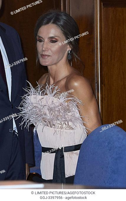 Queen Letizia of Spain attended '28th Musical Week' closing concert at Principe Felipe Auditorium on October 17, 2019 in Oviedo, Spain