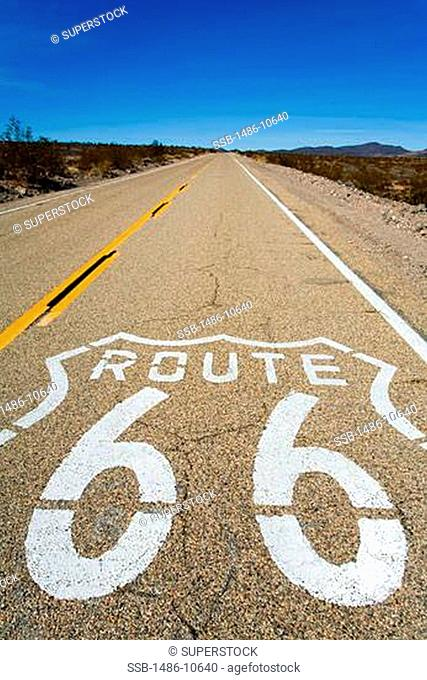 Sign painted on a roadway, Route 66, Amboy, California, USA