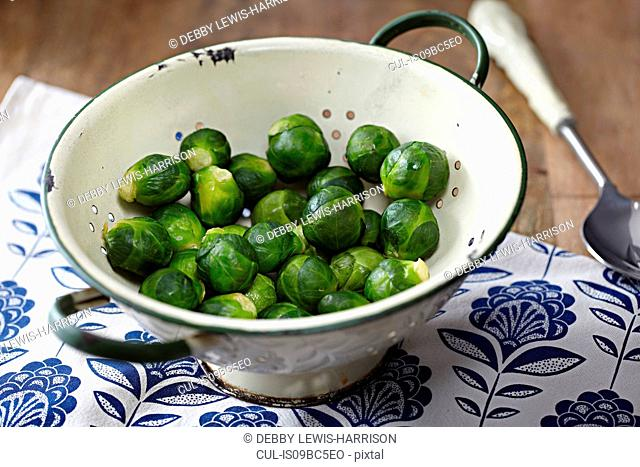 Steamed sprouts in colander