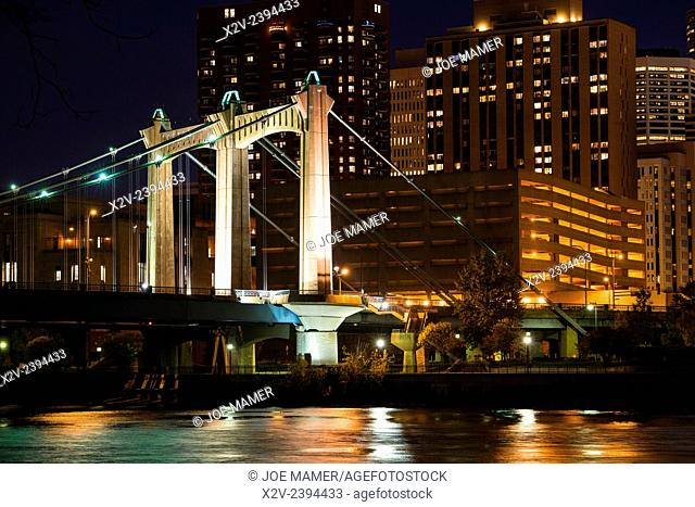 Hennepin Avenue bridge over the Mississippi River in downtown Minneapolis at dusk