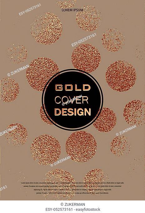 Grunge design. Copper glossy background. Metallic texture. Bronze metal. Trendy template for New Year, Wedding, Birthday, Flyers