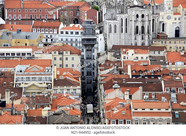 View of the Baixa area with the Elevador de Santa Justa and the Igreja do Carmo  Lisbon, Portugal