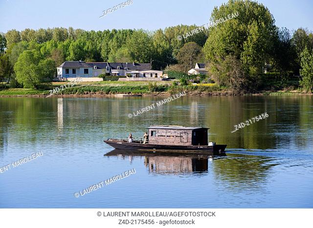 La Candaise, a traditional Flat-Bottom Boat at Candes-Saint-Martin Village (One of the Most Beautiful Villages of France)