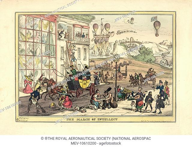 Satirical cartoon, The March of Intellect, showing a street scene with balloons in the sky above