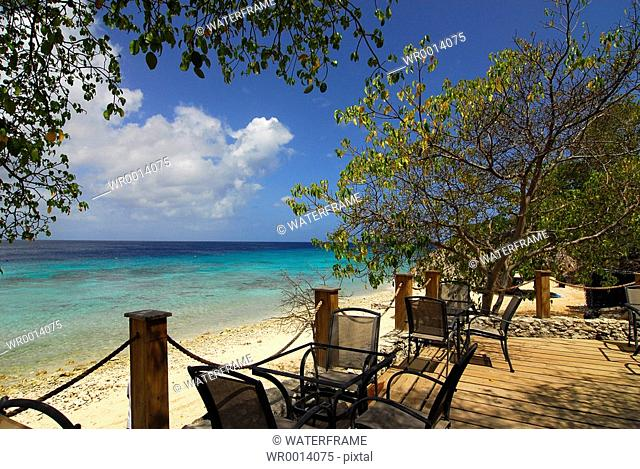 Terrace with Ocean View, Caribbean Sea, Netherland Antilles, Curacao