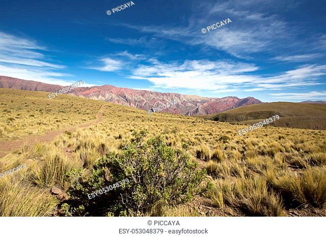 Mountain of fourteen colors, Quebrada de Humahuaca against a blue sky, Northern Argentina