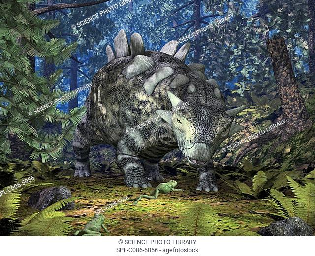 Crichtonsaurus and frogs. Computer artwork of a ten-foot-long Crichtonsaurus and a pair of frogs in a forest during the late Cretaceous period 99.6-65