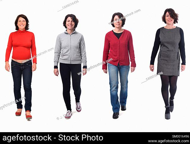 same woman with various outfits and pregnant on white background