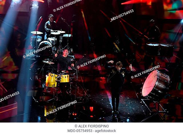 Italian band The Kolors and musicians Tullio De Piscopo and Enrico Nigiotti performs on the Ariston stage during the 68th Festival di Sanremo