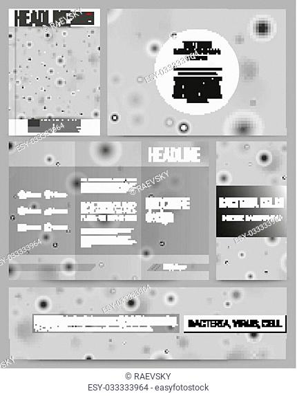 Set of business templates for presentation, brochure, flyer or booklet. Molecular research, illustration of cells in gray, science vector background
