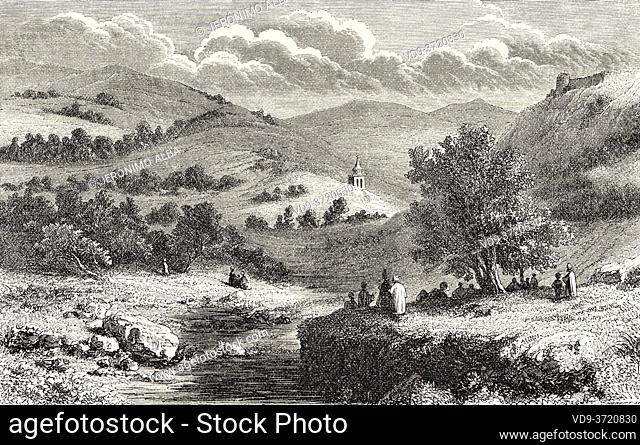 Valley of Jehoshaphat or Valley of Josaphat, Israel. Old 19th century engraved illustration Travel to Jerusalem by Alphonse de Lamartine from El Mundo en La...