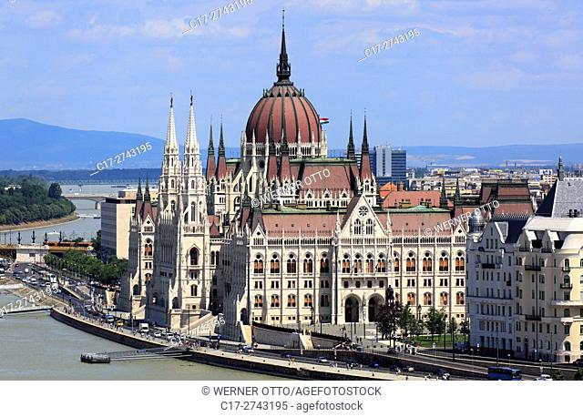 Hungary, Central Hungary, Budapest, Danube, Capital City, Hungarian Parliament, parliament building by Imre Steindl at the Danube bank, Gothic Revival, landmark