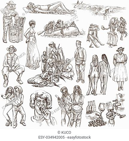 United Colors of Human Race, NATIVES - Collection (no.17). An hand drawn illustrations. Description: Full sized hand drawn illustrations, freehand sketching