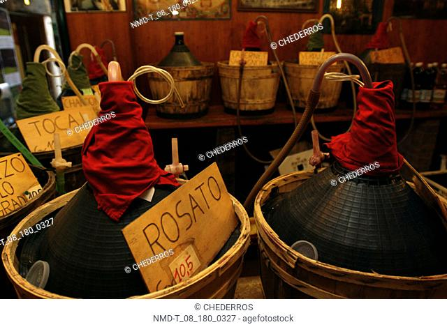 Close-up of tags and industrial equipment in baskets, Venice, Veneto, Italy