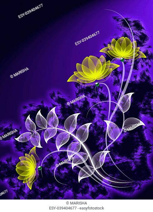 Transparent flowers on grunge background