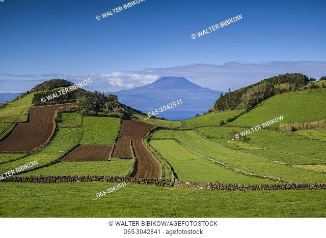 Portugal, Azores, Sao Jorge Island, Rosais, elevated view of fields and the Pico Volcano