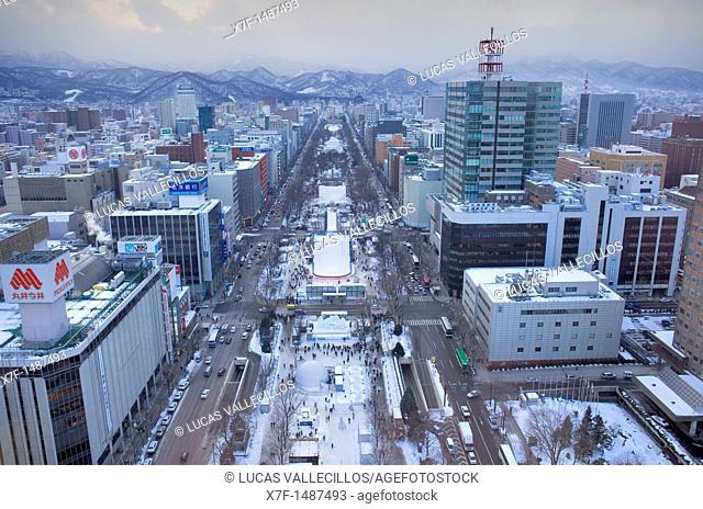 Aerial view of Odori Park during snow festival,Sapporo, Hokkaido, Japan