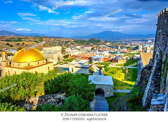 View over Sapara monastery and golden dome, Georgia
