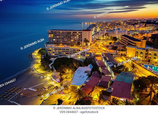 Panoramic landscape at dusk beaches, hotels and the Carihuela, Torremolinos. Malaga province Costa del Sol. Andalusia Southern Spain, Europe