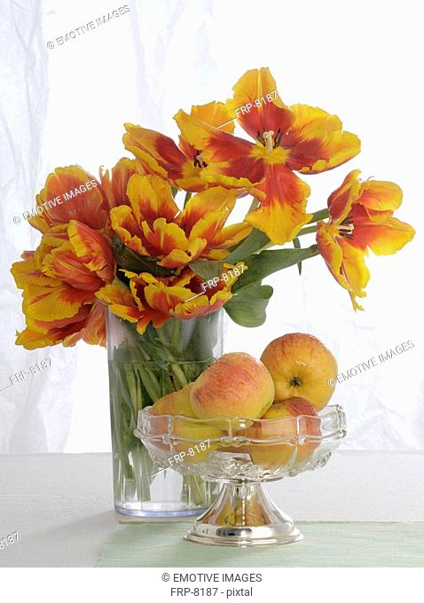 Yellow and orange bouquet of tulips