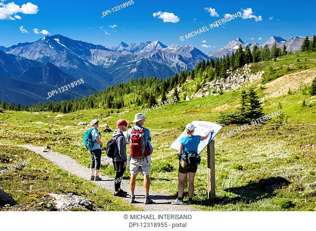 A group of hikers viewing a interpretive sign along a meadow trail with mountain range in the distance and blue sky and clouds; Banff, Alberta, Canada